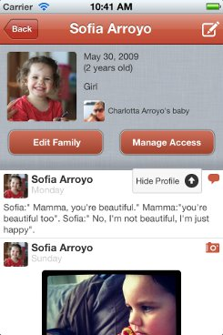 iPhone app baby profile